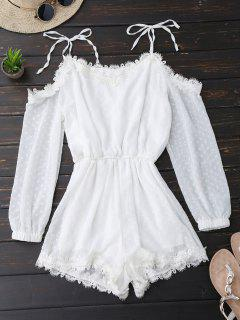 Lace Trim Tie Shoulder Romper With Dot - White M