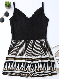 Geometric Panel Lace Trim Romper - Black S
