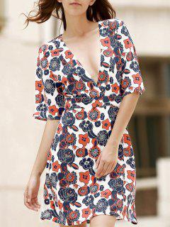 Printed V-Neck Half Sleeve Dress - White L