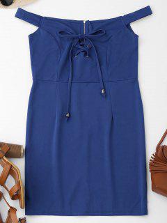 Off Shoulder Lace Up Bodycon Dress - Blue S