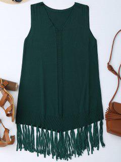 Vestido Sin Mangas Con Flecos Con Flecos - Verde Negruzco