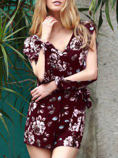 Floral V Neck Off The Shoulder Playsuit - Wine Red M