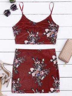 Samt Blumen Crop Top Und Bodycon Rock - Weinrot S