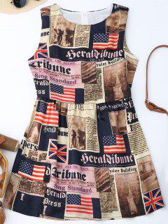 Sleeveless American Flag Patriotic Dress - M