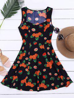 Sleeveless Pineapple Watermelon Dress - L