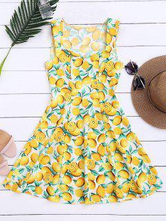 Lemon Print Sleeveless Dress - Yellow Xl