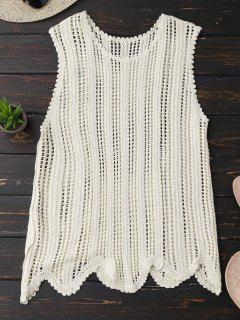 Scalloped Crochet Tank Top - Off-white