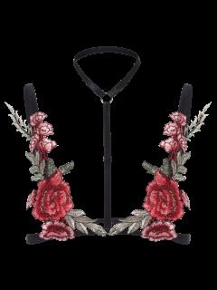 Bondage Applique Floral Lingeries Bra - Negro L