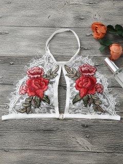 Floral Applique Keyhole Lace Bra - White L