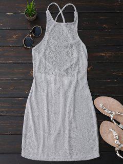 Open Back Sheer Sleeveless Bodycon Dress - Light Grey L