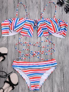 Ruffles Rayas Fuera Del Conjunto De Bikini Hombro - Multicolor S