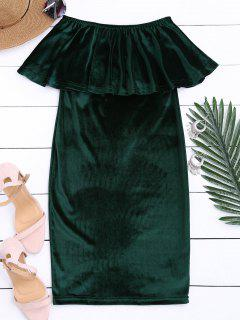 Off The Shoulder Ruffle Velvet Dress - Blackish Green M