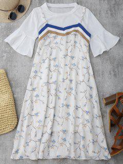 Robe Florale à Bretelle Et Haut à Manche évasée - Blanc