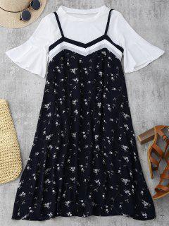 Flare Manga Superior Y Cami Vestido Floral - Azul Negro