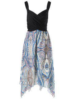 Plus Size Sweetheart Neck Paisley Handkerchief Dress - 4xl