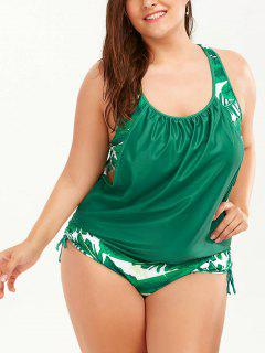 Plus Size Faux Twinset Palm Leaf Swimwear - Green 5xl