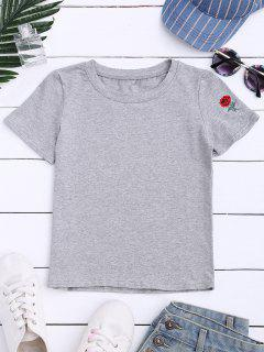 Camiseta De Manga Corta Bordada Rosa - Gris M