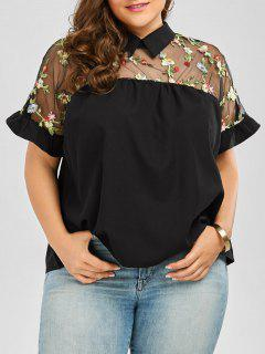 Collared Mesh Trim Embroidered Plus Size Top - Black 3xl