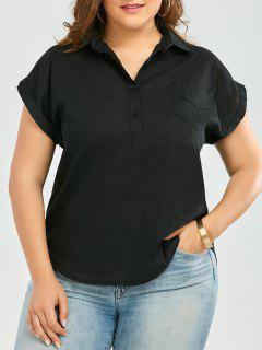 Plus Size Cuffed Sleeve Linen Pocket Shirt - Black 3xl