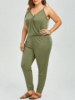 Plus Size V Neck Spaghetti Strap Jumpsuit - Sage Green 2xl