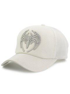 Malla Del Bordado De La Araña Empaquetada Hat De Béisbol - Blanco