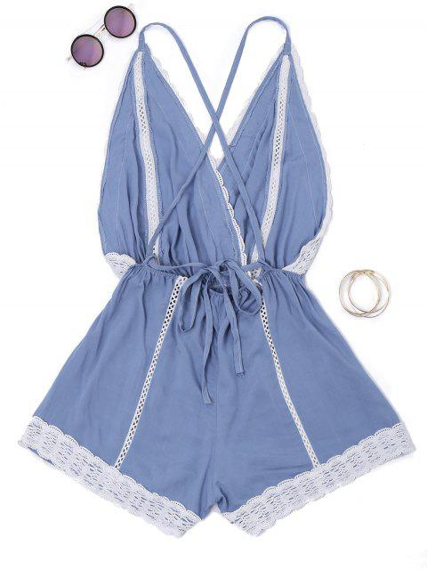 new Plunge Lace Trim Open Back Romper - BLUE L Mobile