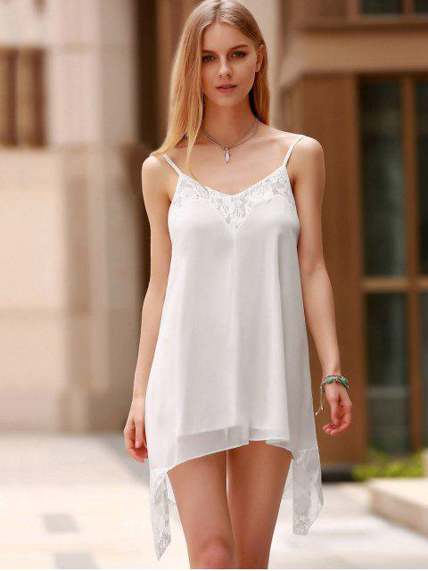outfit Lace Spliced Spaghetti Straps Solid Color Dress - WHITE XL Mobile