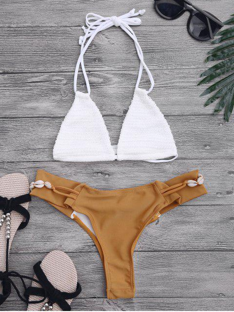 women Crochet Halterneck Bikini Set - WHITE AND BROWN S Mobile