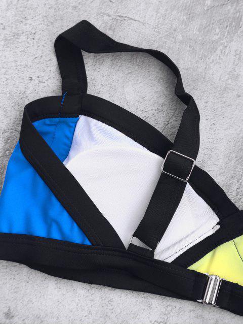 Splicing bretelles Color Block Bikini - Bleu L Mobile