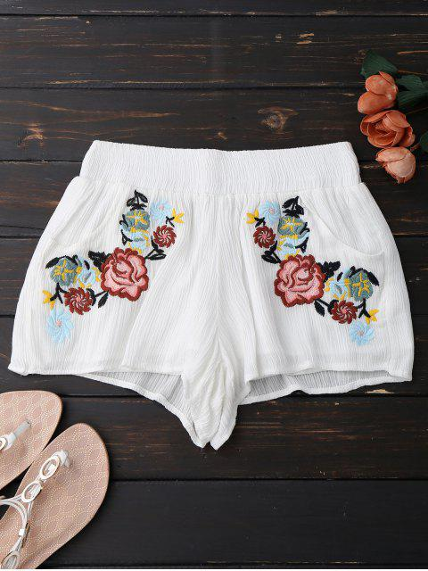 ladies Lined Floral Embroidered Shorts - WHITE L Mobile