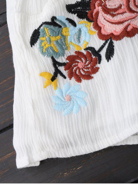 Shorts floral doublés avec broderie - Blanc S Mobile