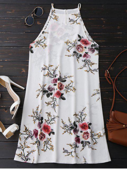 ladies Floral High Neck A-Line Dress - FLORAL S Mobile