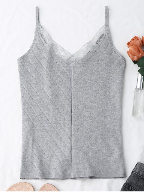womens Knitting Lace Trim Tank Top - GRAY ONE SIZE Mobile