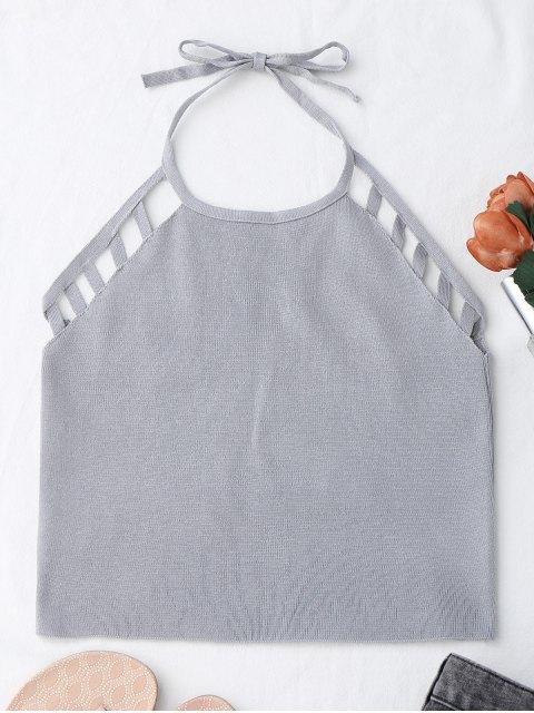 Tank top découpé à bretelle et en tricot - Gris TAILLE MOYENNE Mobile