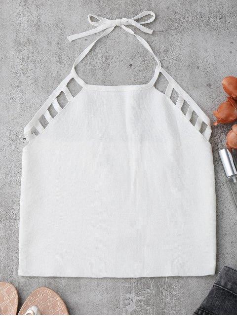 Tank top découpé à bretelle et en tricot - Blanc TAILLE MOYENNE Mobile
