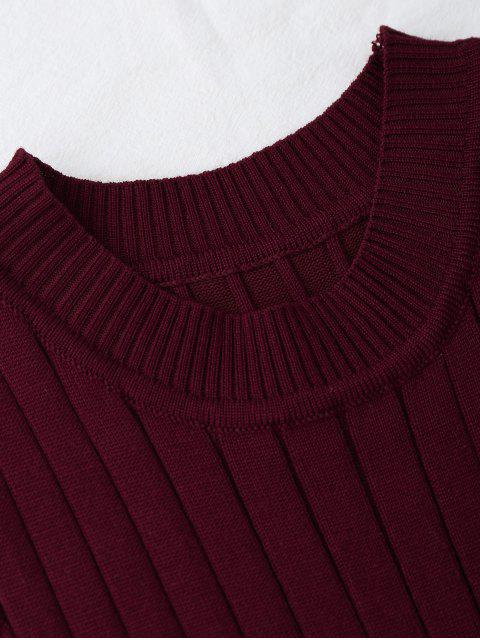 lady Knitting Mock Neck Tank Top - WINE RED ONE SIZE Mobile