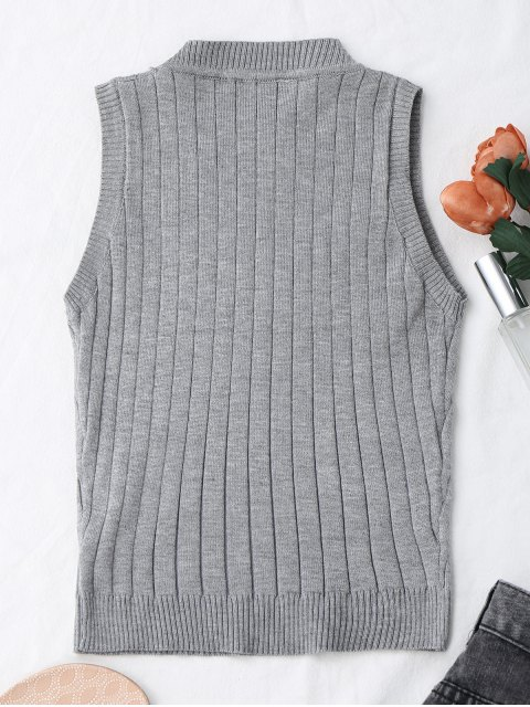 best Knitting Mock Neck Tank Top - GRAY ONE SIZE Mobile