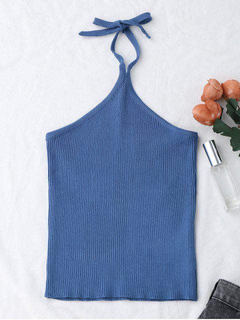 new Halter Knitting Ribbed Tank Top - BLUE ONE SIZE Mobile