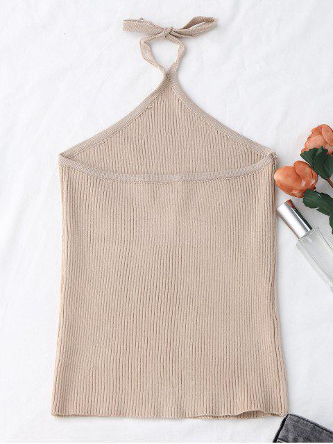 Débardeur à côtelé en tricot Halter - Abricot TAILLE MOYENNE Mobile