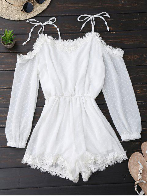 trendy Lace Trim Tie Shoulder Romper With Dot - WHITE L Mobile
