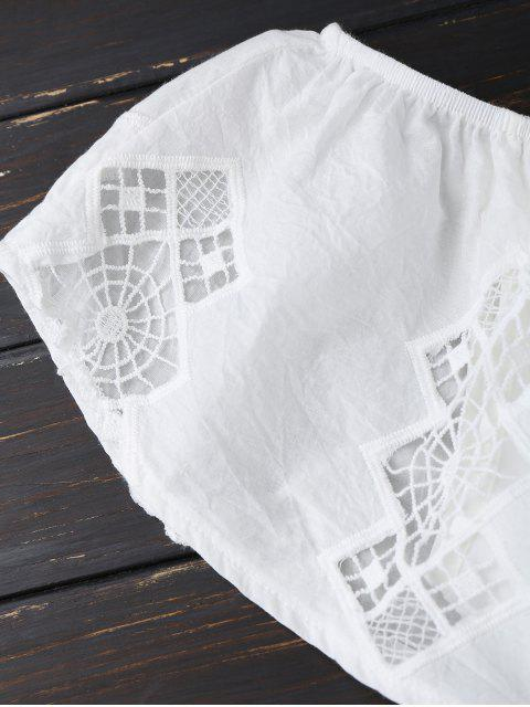 affordable Lace Trim Cut Out Off Shoulder Romper - WHITE L Mobile