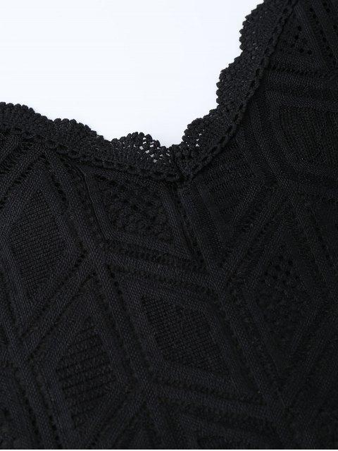 women Geometric Panel Lace Trim Romper - BLACK L Mobile