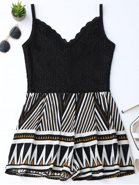 women's Geometric Panel Lace Trim Romper - BLACK M Mobile