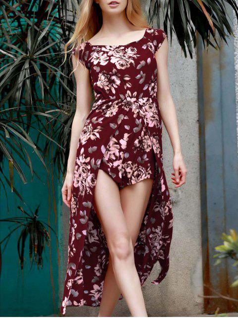 sale Floral Off The Shoulder Short Sleeve Playsuit - WINE RED M Mobile