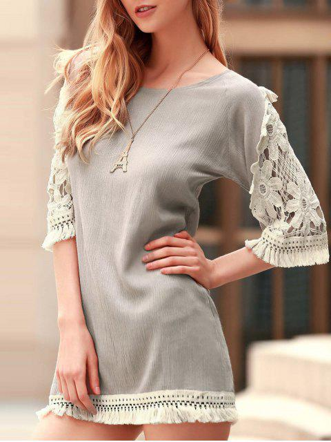 lady Perspective Lace Splicing Round Neck 3/4 Sleeve Dress - LIGHT KHAKI L Mobile