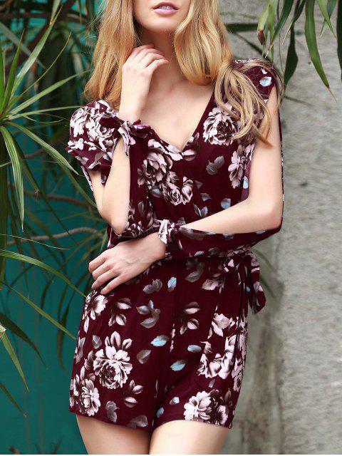 buy Floral V Neck Off The Shoulder Playsuit - WINE RED M Mobile