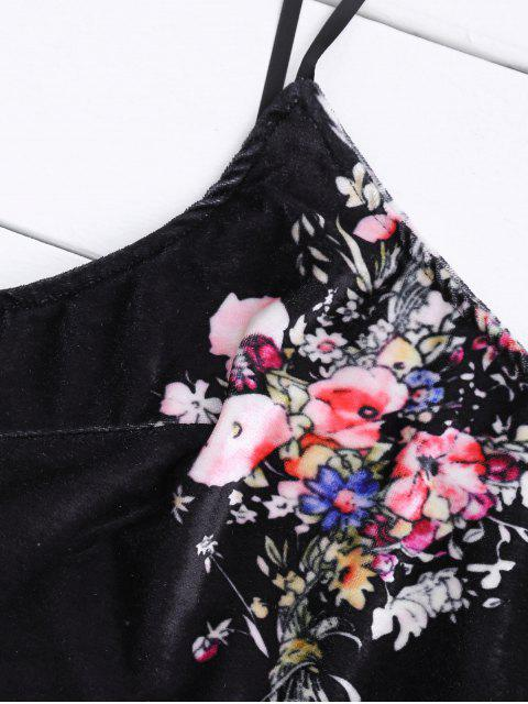 Velvet Floral Crop Top et Bodycon Jupe - Noir S Mobile
