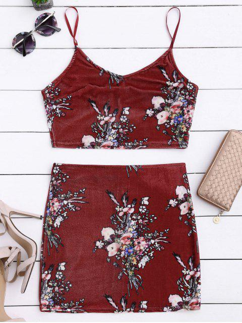affordable Velvet Floral Crop Top and Bodycon Skirt - CLARET XL Mobile