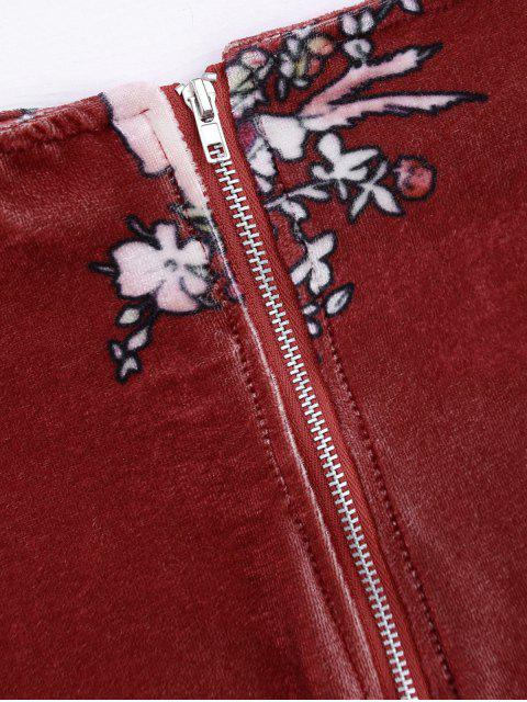 Velvet Floral Crop Top et Bodycon Jupe - Clairet L Mobile