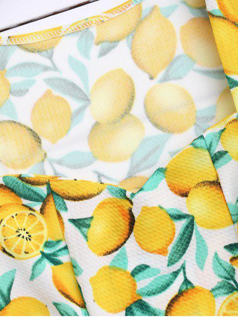 outfits Lemon Print Sleeveless Dress - YELLOW M Mobile